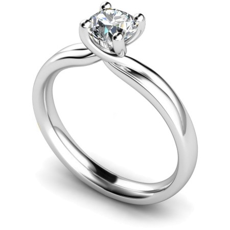 HRR413 Crossover Setting Round Cut Solitaire Diamond Ring 0.30ct / SI2 clarity / G colour /  IGI certificate - HRR413ST16031