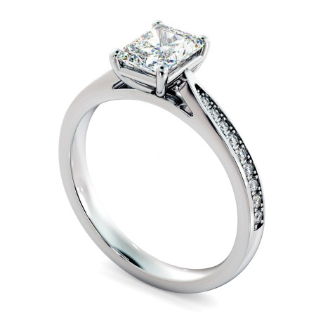 Radiant Shoulder Diamond Ring - HRRASD1163