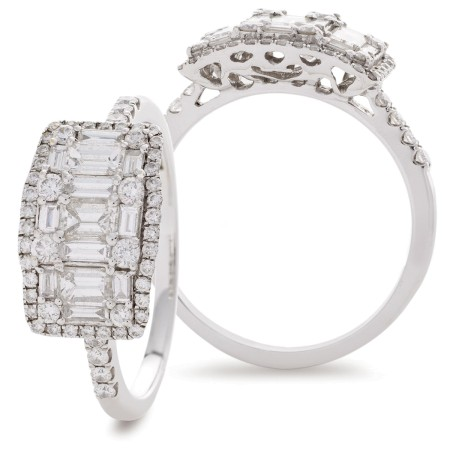 Round & Baguette 3 Stone Effect Halo Cluster Diamond Ring - HRRCL929