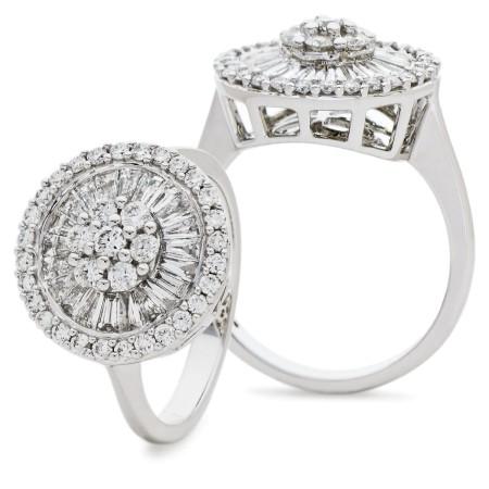 Round &  Baguette Circular Halo Cluster Diamond Ring - HRRCL930
