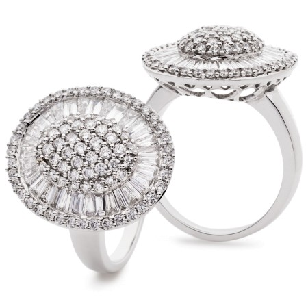 Round &  Baguette Oval Shaped Halo Cluster Diamond Ring - HRRCL932