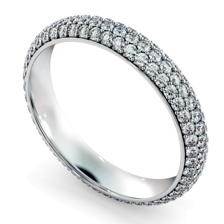 INDUS Round cut Triple Row Micro Pave Full Eternity Ring - HRRFE765
