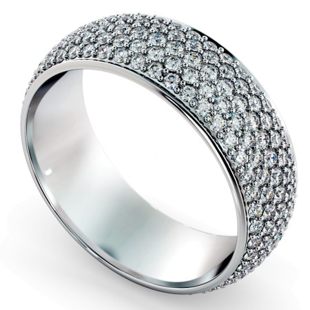 GEMINI Five Row Round cut Grain set Full Eternity Ring - HRRFE767