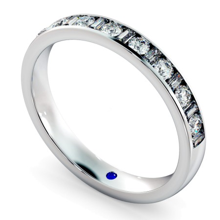 Round & Baguette Half Eternity Diamond Ring - HRRHE1005