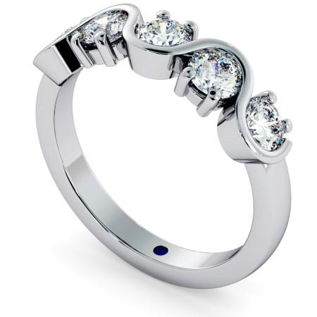 LEO Round cut 5 Stone Diamond Eternity Ring - HRRHE745