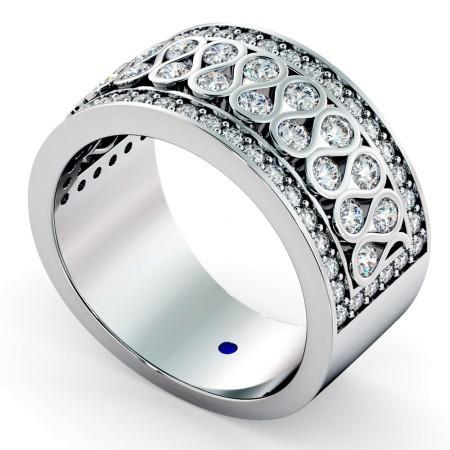 CAPELLA Round cut Half Circle Designer Ring - HRRHE761