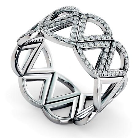 COLUMBA Round cut Half Geometric Cocktail Designer Diamond Ring - HRRHE763