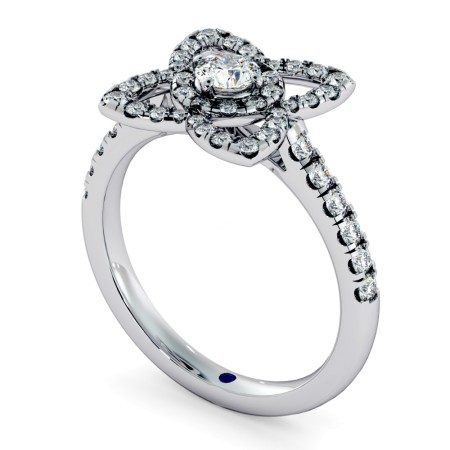 Lotus Motif Halo Diamond Ring - HRRSD726