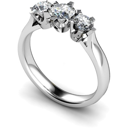 Round 3 Stone Diamond Ring - HRRTR128