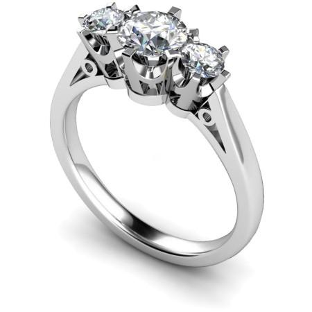Round 3 Stone Diamond Ring - HRRTR158