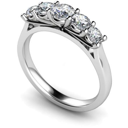 Round 5 Stone Diamond Ring - HRRTR217