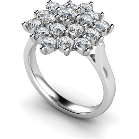 Round Cluster Diamond Ring - HRRTR240