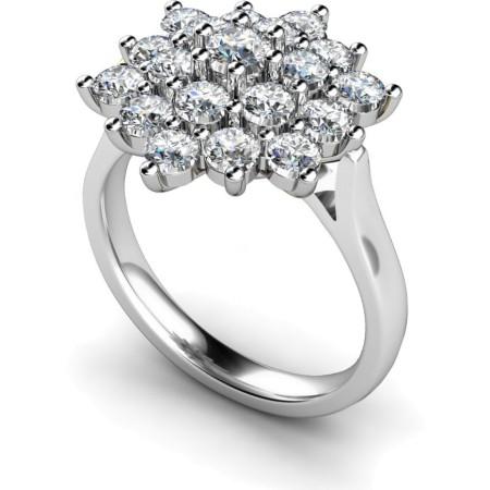 Round Cluster Diamond Ring - HRRTR240