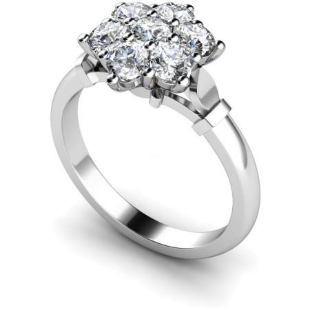 Round Cluster 7 Stone Diamond Ring - HRRTR241