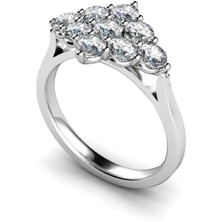 Round 9 Stone Diamond Ring - HRRTR248