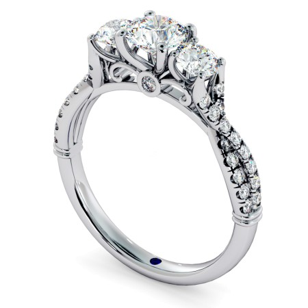 Round cut Twisted Shoulders 3 Stone Diamond Engagement Ring - HRRTR734