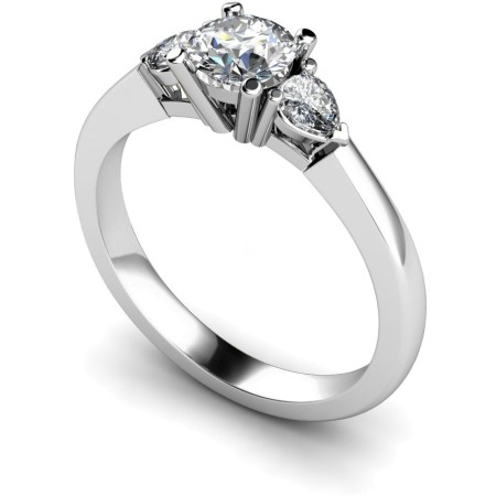 Round & Pear 3 Stone Diamond Ring - HRXTR100