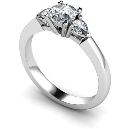 Round & Pear 3 Stone Diamond Ring - HRXTR100
