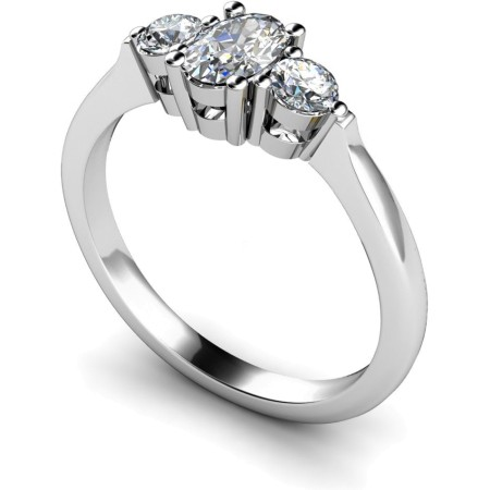Oval & Round 3 Stone Diamond Ring - HRXTR125
