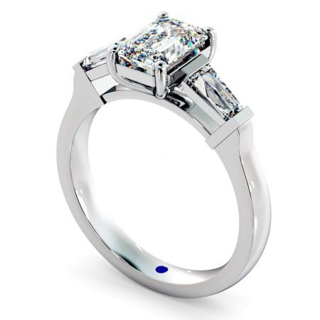 Emerald & Baguettes 3 Stone Diamond Ring - HRXTR138