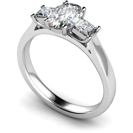 Oval & Princess 3 Stone Diamond Ring - HRXTR143