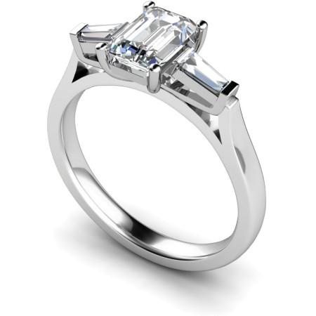 Emerald & Baguettes 3 Stone Diamond Ring - HRXTR145