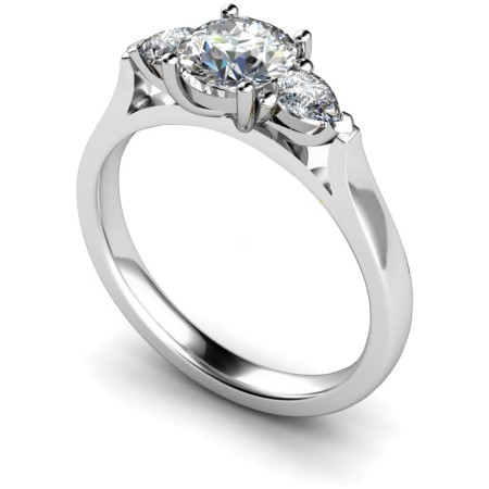 Round & Pear 3 Stone Diamond Ring - HRXTR153