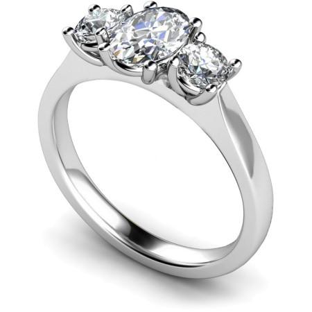 Oval & Round 3 Stone Diamond Ring - HRXTR165