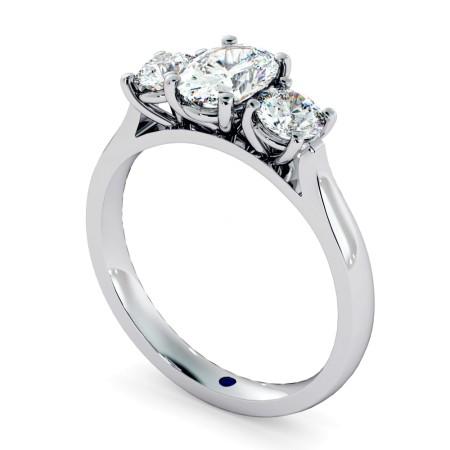Oval & Round 3 Stone Diamond Ring - HRXTR170