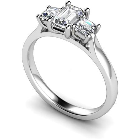 Emerald & Princess 3 Stone Diamond Ring - HRXTR173