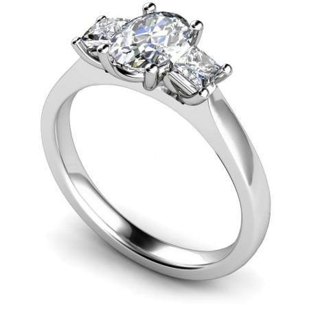 Oval & Princess 3 Stone Diamond Ring - HRXTR178