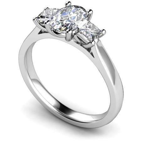 Oval & Princess 3 Stone Diamond Ring - HRXTR179