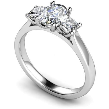 Oval & Princess 3 Stone Diamond Ring - HRXTR179