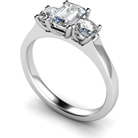 Emerald & Round 3 Stone Diamond Ring - HRXTR181