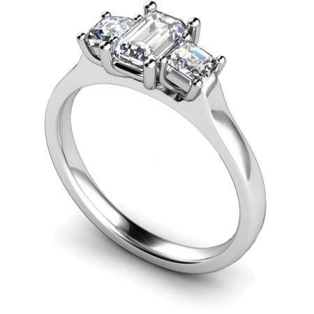Emerald & Princess 3 Stone Diamond Ring - HRXTR185