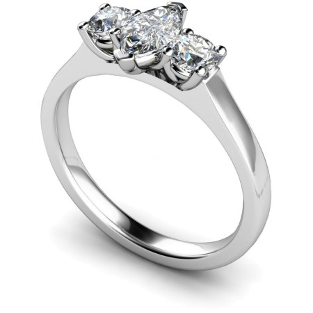Marquise & Round 3 Stone Diamond Ring - HRXTR186