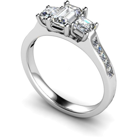 Emerald & Princess 3 Stone Diamond Ring - HRXTR191