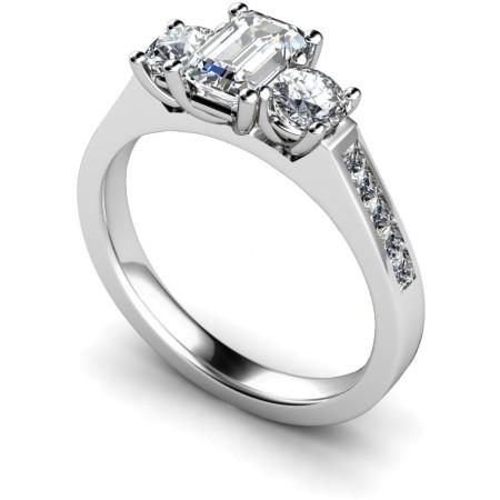 Emerald & Round 3 Stone Diamond Ring - HRXTR192