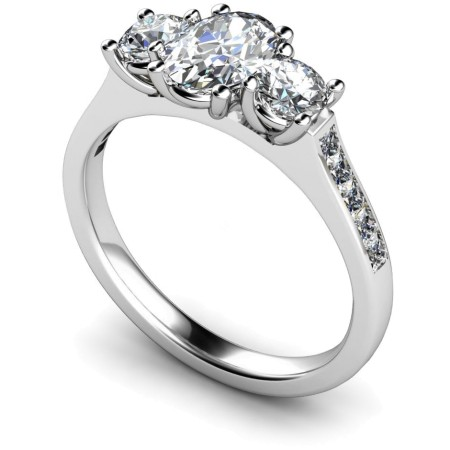 Oval & Round 3 Stone Diamond Ring - HRXTR193