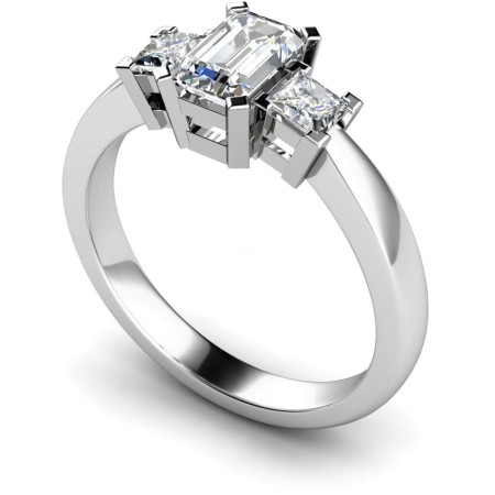 Emerald & Princess 3 Stone Diamond Ring - HRXTR96