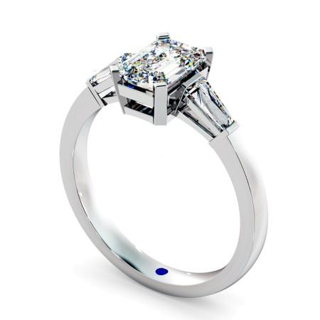 Emerald & Baguettes 3 Stone Diamond Ring - HRXTR98