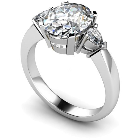Oval & Pear 3 Stone Diamond Ring - HRXTR99