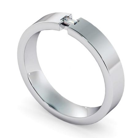Baguette cut Diamond set Wedding Ring with Cut out Edge - HWB009
