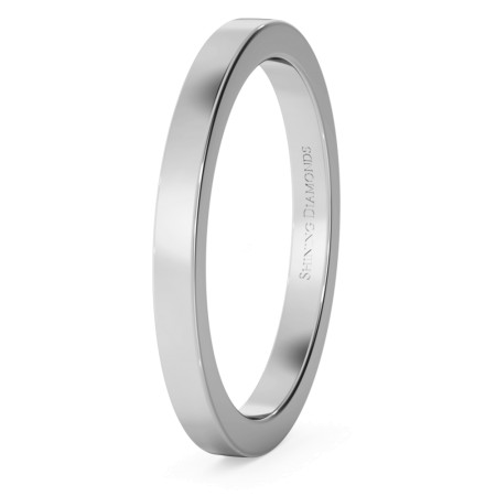Flat Wedding Ring - 2mm width, Medium depth - HWNA217