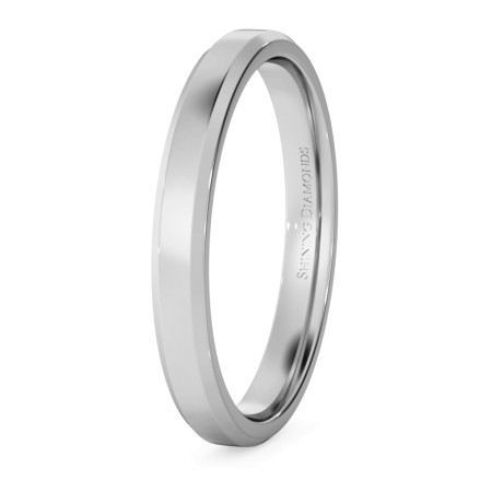 Bevelled Edge Wedding Ring - 2.5mm width, 1.4mm depth - HWNB2513