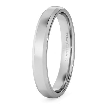 Bevelled Edge Wedding Ring - 3mm width, 1.4mm depth - HWNB313