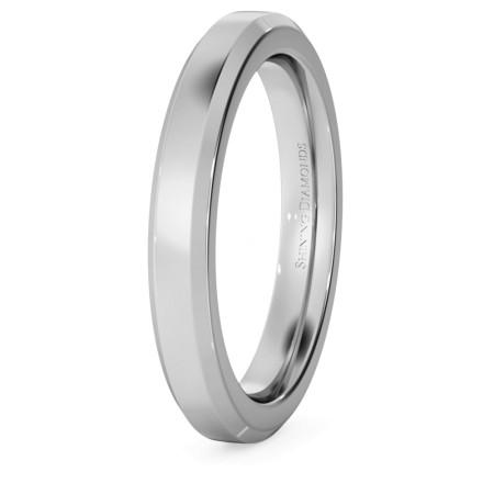 Bevelled Edge Wedding Ring - 3mm width, 2.3mm depth - HWNB321