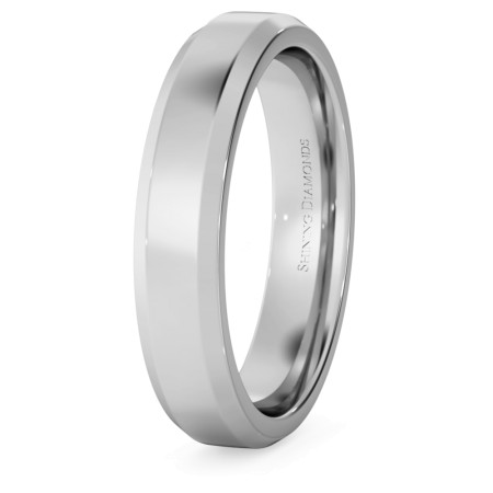 Bevelled Edge Wedding Ring - 4mm width, 1.8mm depth - HWNB417