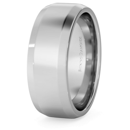 Bevelled Edge Wedding Ring - 7mm width, 1.8mm depth - HWNB717
