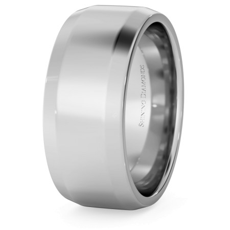 Bevelled Edge Wedding Ring - 8mm width, 1.8mm depth - HWNB817